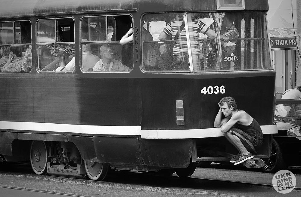 На задней «колбасе» трамвая