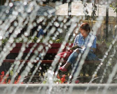 Девушка читает книгу в центральном парке